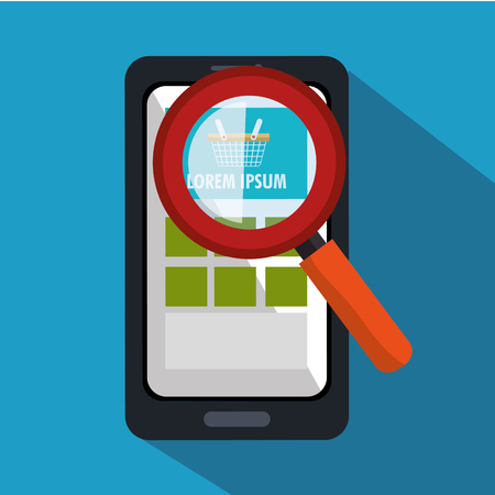 touchphone: smartphone cyber monday searching shopping vector illustration
