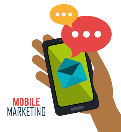 mobile marketing: smartphone mobile marketing email vector