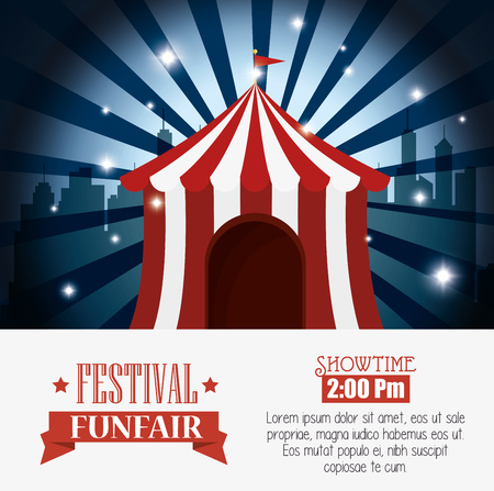 tent city: poster tent festival funfair city background vector illustration Illustration