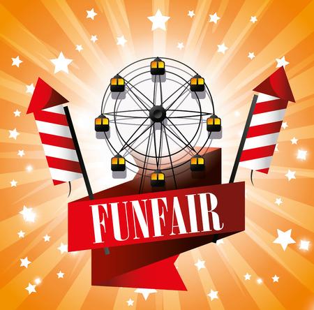 sensation: ferris wheel festival funfair fireworks vector illustration