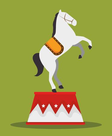 horse show: acrobat horse show circus carnival vector illustration