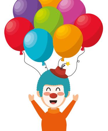 Clown Luftballons Festival Kirmes lustig Design Vektor-Illustration