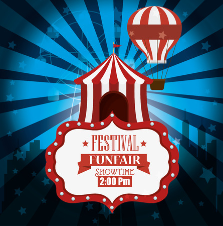 show bill: poster festival funfair tent air balloon light background vector illustration