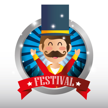 host: poster festival funfair host man showing vector illustration Illustration