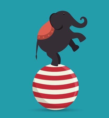 acrobat: elephant acrobat sphere festival funfair vector illustration