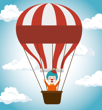 buffoon: clown air balloons festival funfair icon vector illustration Illustration