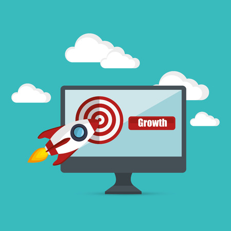 thumps up: growth business concept star up target vector illustration