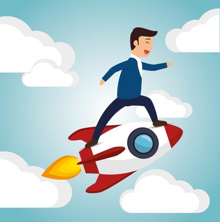 startup launch man business design vector illustration
