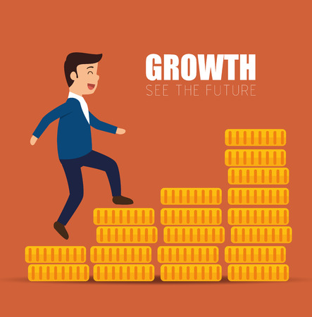 concept growth success businessman walk stairs coins vector illustration eps 10