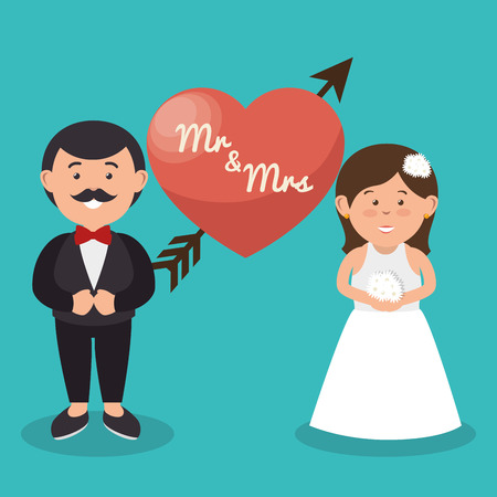 señora: sr y diseño de la boda del corazón pareja señora, ejemplo gráfico del vector
