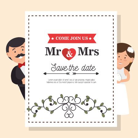 mr: wedding card vintage mr and mrs design, vector illustration  graphic