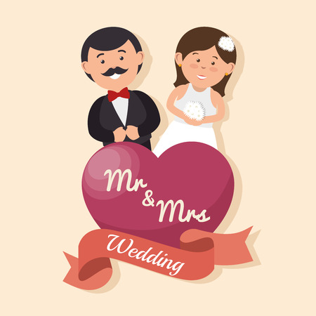 mrs: wedding card happy couple with heart mr mrs design, vector illustration  graphic Illustration