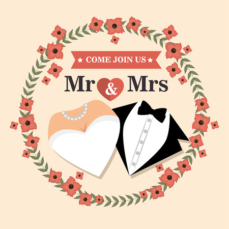 bridal gown: wedding card with flower and suit and bridal gown design, vector illustration  graphic Illustration