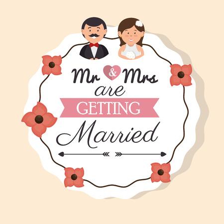 cartoon man and woman wedding card vintage design, vector illustration  graphic