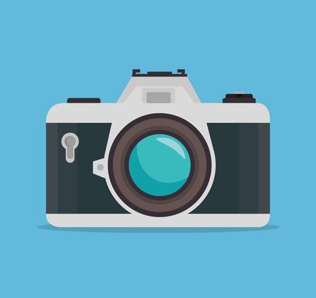 photocamera: photocamera blue background design, vector illustration graphic