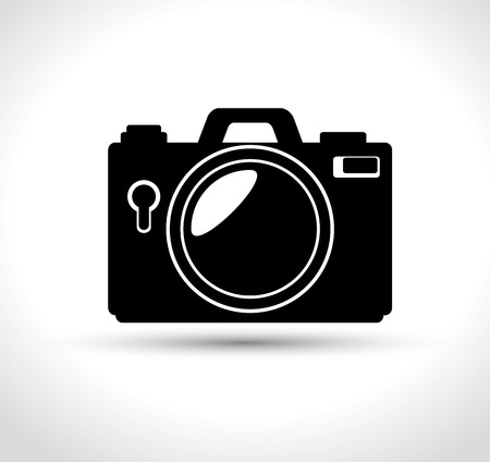 compact photo camera flash white background design, vector illustration graphic