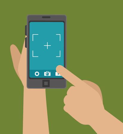 capture: hand hold phone capture photo design, vector illustration graphic