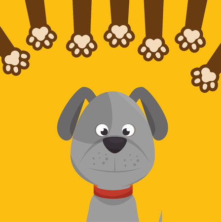 doggy: doggy with paw print icon design vector illustration eps 10
