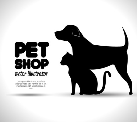 pet shop: pet shop concept emblem dog and cat silhouette vector illustration eps 10
