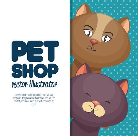 pet shop character cat banner vector illustration Vettoriali