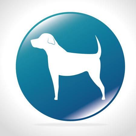 big dog: white silhouette big dog blue button icon design vector illustration