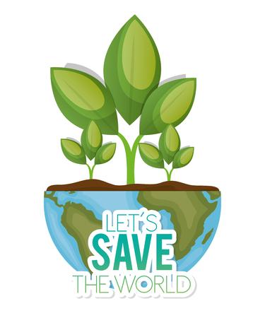 niños reciclando: mundo con la planta permite salvar el mundo de la ilustración vectorial