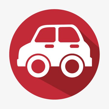 car icon concept eco red button vector illustration