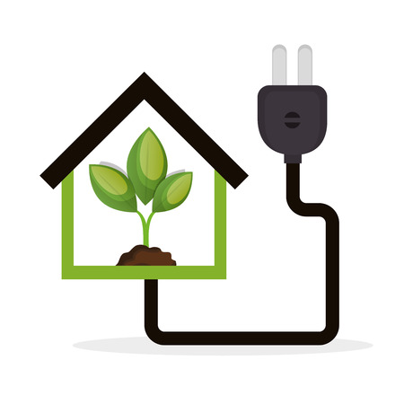 eco energy concept house plant vector illustration