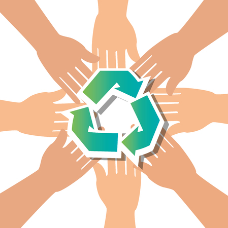 interracial: recycle concept hand unity group vector illustration Illustration