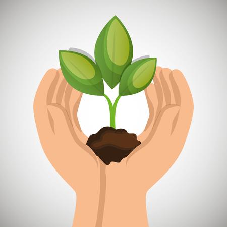 hands holding plant green concept ecological vector illustration