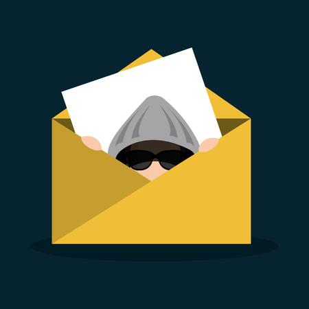 hacker, correo electrónico, mensaje, seguro, icono, vector, ilustración