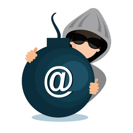 hacking data mail server icon vector illustration Illustration