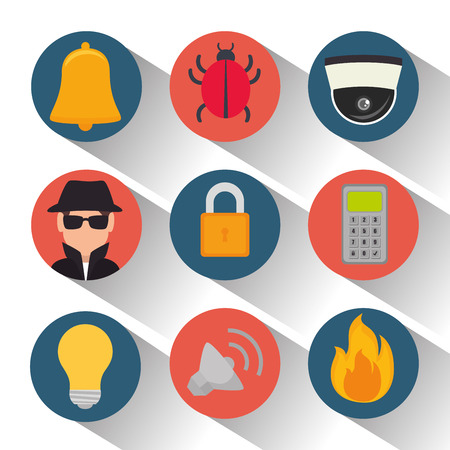 set security system protection data vector illustration