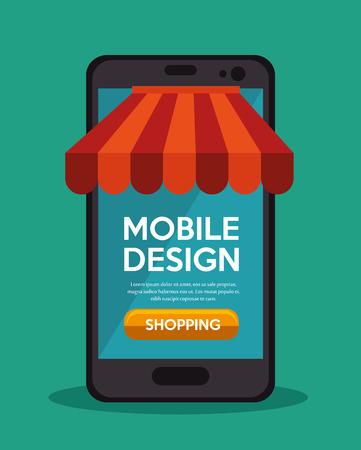 mobile app: mobile design shopping app online vector illustration Illustration