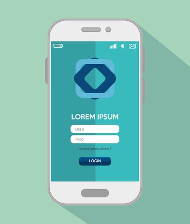 mobile app: mobile design login app vector illustration