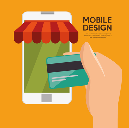 virtual technology: mobile design shop store virtual technology vector illustration