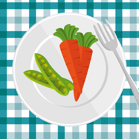 broth: delicious plate with carrot and peas pot vector illustration