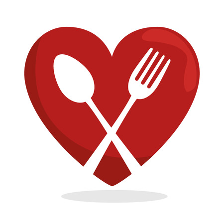 spoon fork: symbol healthy food heart spoon fork vector illustration