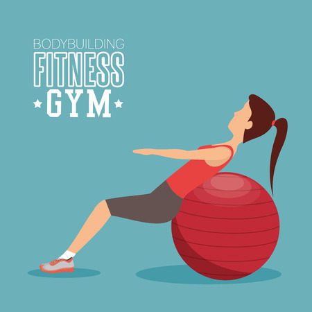abs: woman training abs with sphere ball fitness gym