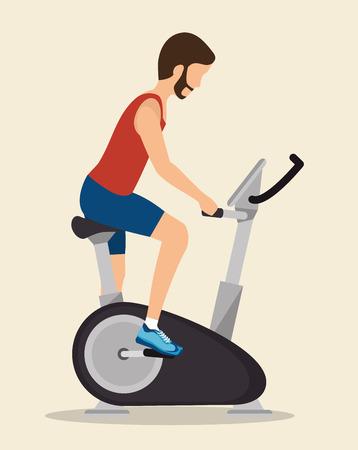 static bike: man exercises static bike icon vector illustration Illustration