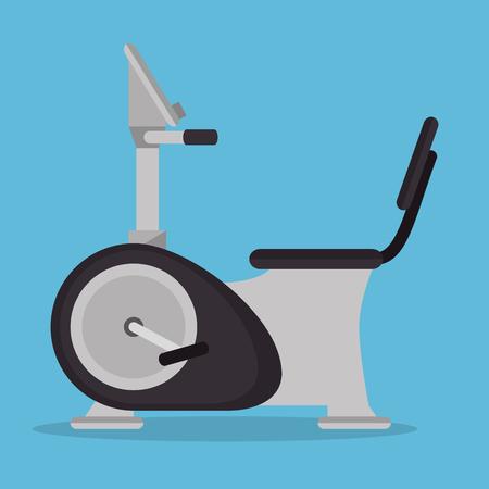 static bike: static bike gym fitness icon vector illustration