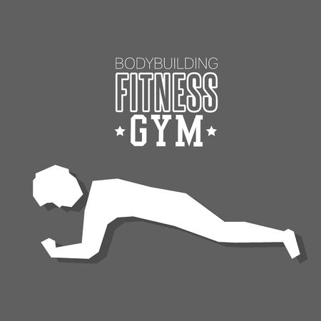 man exercise hard bodybuilding fitness gym icon design vector illustration Illustration