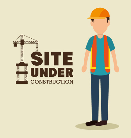 laborer: site under construction man work uniform vector illustration Illustration