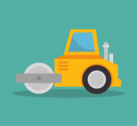 steamroller construction icon design vector illustration
