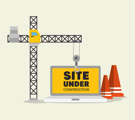 construction crane and cone site under construction vector illustration