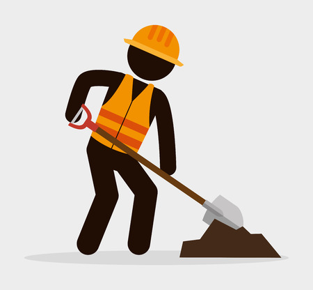 silhouette man worker shovel and cement vector illustration Illustration