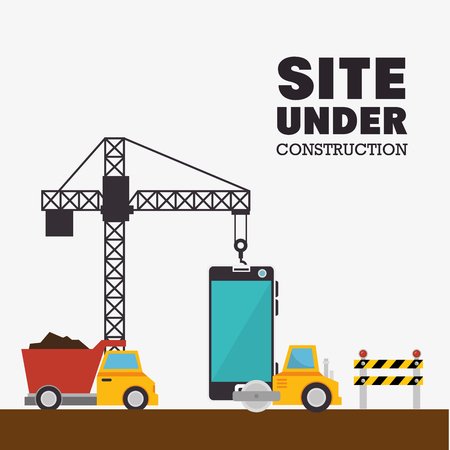 site under construction mobile and truck machinery vector illustration eps 10