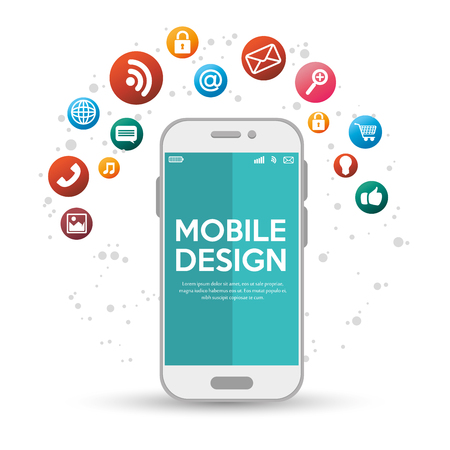 mobile application: mobile design with various application vector illustration