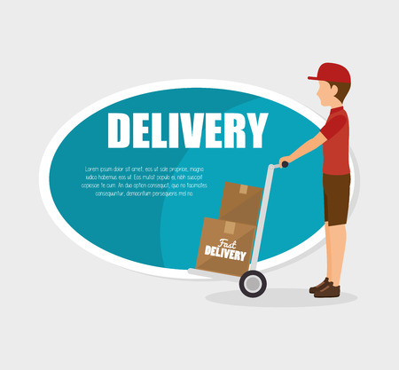 courier: man courier delivery cardboard boxes vector illustration Illustration