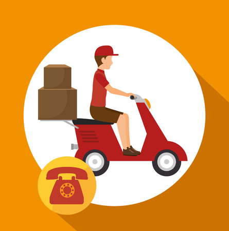courier: man courier service package telephone vector illustration